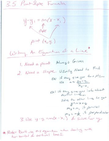 3.5 Point-Slope Formula and 3.6 Applications of Linear Equations