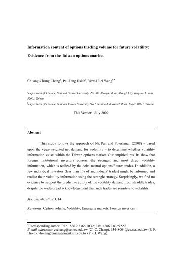 Information content of options trading volume for future