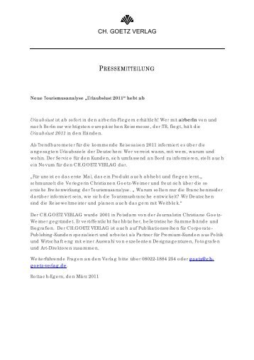 Tourismusanalyse in airberlin-Fliegern - ch. goetz verlag
