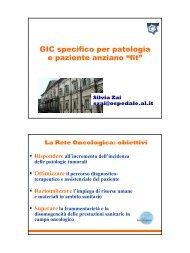 """GIC specifico per patologia e paziente anziano """"fit"""" - ASL AL"""