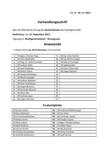 19. Gemeinderatssitzung vom 13.09.2012 (338 KB ... - Stadl-Paura