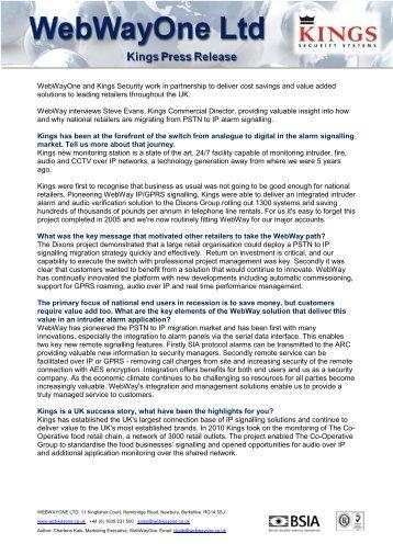 WebWayOne Interviews Steve Evans, Commercial Director, at Kings ...