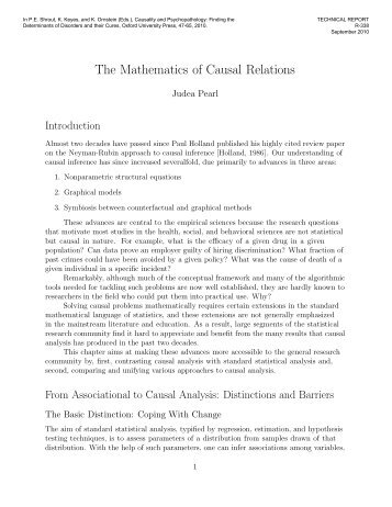 The Mathematics of Causal Relations - UCLA Computer Science