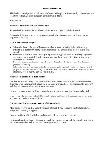 Salmonella Infection This leaflet is to tell you about Salmonella ...