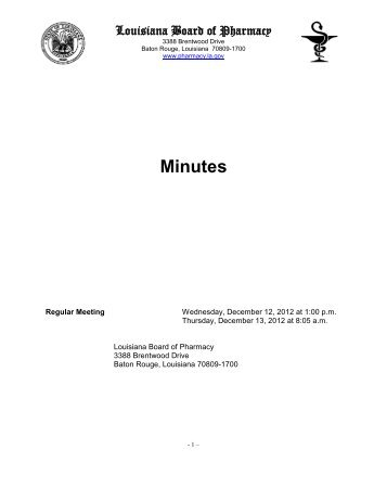 Minutes - Louisiana Board of Pharmacy