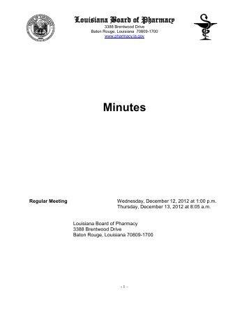 Minutes - Louisiana Board of Pharmacy