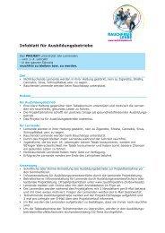 Infoblatt für Ausbildungsbetriebe - Rauchfreie Lehre