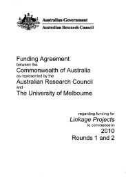 Funding Agreement - Melbourne Research - University of Melbourne
