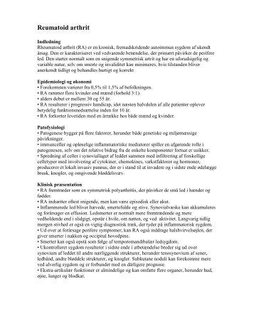 Reumatoid arthrit - SMI