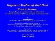 Different Models of Bad Debt Restructuring - World Bank