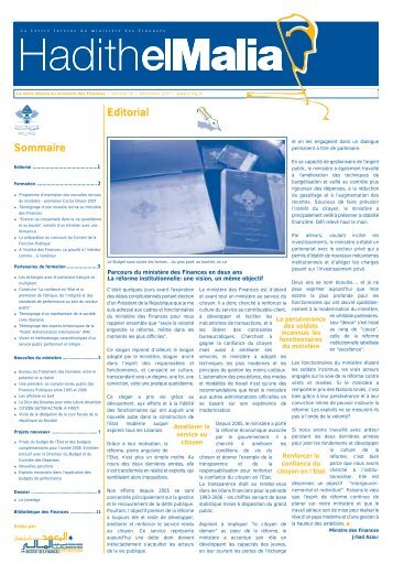 Editorial Sommaire - Ministry of Finance