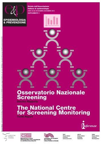 10° rapporto (2012) - Osservatorio Nazionale Screening
