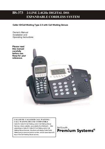 BS-373 2-LINE 2.4ghz DIGITAL DSS EXPANDABLE CORDLESS ...