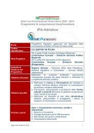 scheda descrittiva IPA-Adriatico - Fondi Europei 2007-2013