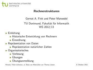 Rechnerstrukturen - Gernot A. Fink - TU Dortmund