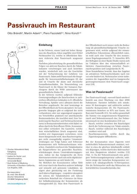 Passivrauch im Restaurant - Wirtschafts- und Kaderschule Bern