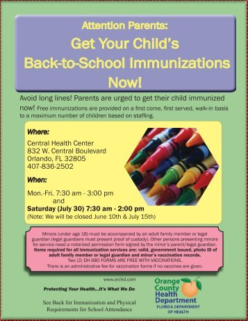 back to school flyer 2011.indd - Orange County Health Department
