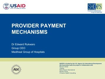 Provider Payment Mechanisms.pdf - (SHOPS) project
