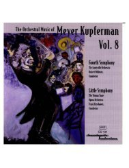 THE ORCHESTRAL MUSIC OF MEYER KUPFERMAN, VOL 8 ...