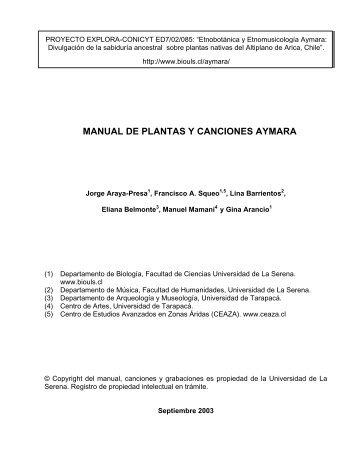 MANUAL DE PLANTAS Y CANCIONES AYMARA - Departamento ...