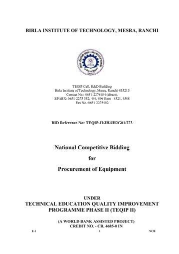 TEQIP-II/JH/JH2G01/273 - Birla Institute of Technology