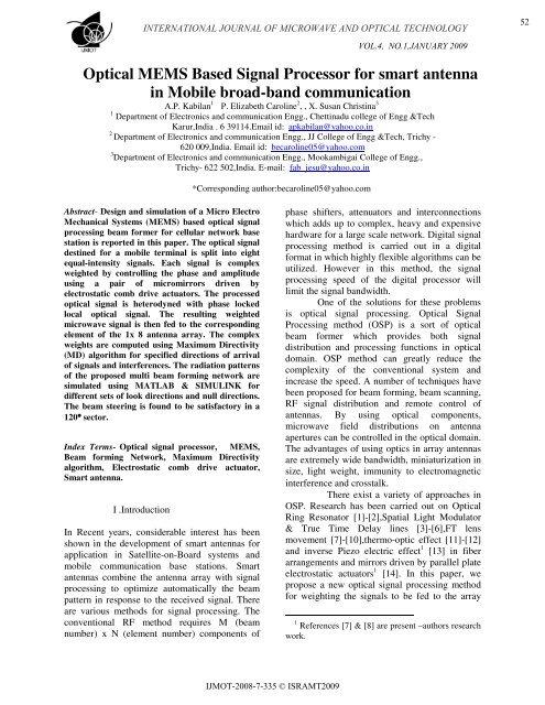Optical MEMS Based Signal Processor for smart antenna