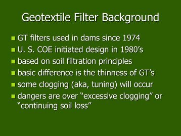 Geotextile Filter Failures - Association of State Dam Safety Officials