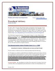 Procedural Advisory - Barnstable County Probate and Family Court