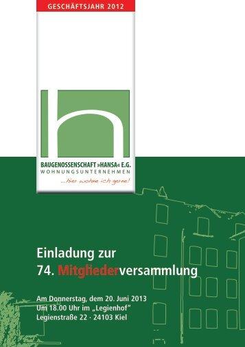 Einladung zur 74. Mitgliederversammlung - baugenossenschaft ...
