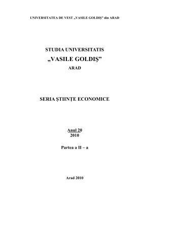 "STUDIA UNIVERSITATIS ""VASILE GOLDIŞ"" - Universitatea de Vest ..."