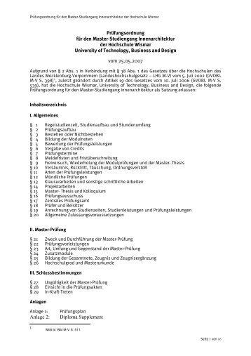 Prüfungsordnung - Fakultät Gestaltung der Hochschule Wismar