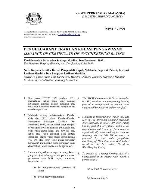 Pengeluaran Perakuan Kelasi Pengawasan. - Jabatan Laut Malaysia