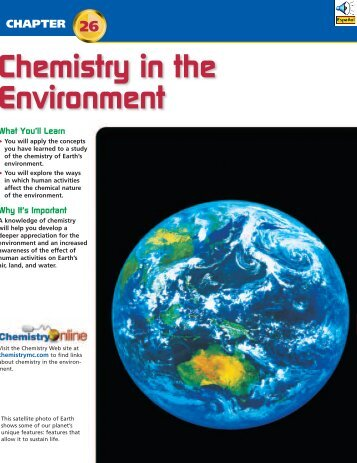 Chapter 26: Chemistry in the Environment