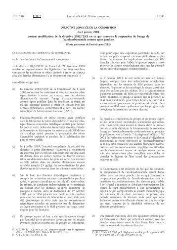DIRECTIVE 2004/1/CE DE LA COMMISSION du 6 janvier ... - EUR-Lex