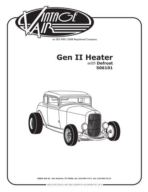 Gen II Heater Kit with Defrost - Vintage Air Vintage Air Slimline Wiring Diagram on
