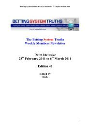 The Betting System Truths Weekly Members Newsletter Dates ...