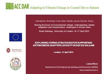 Presentation - Adapting to Climate Change in Coastal Dar es Salaam