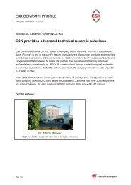 ESK provides advanced technical ceramic solutions