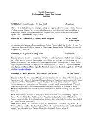 English Department Undergraduate Course Descriptions fall 2011 ...