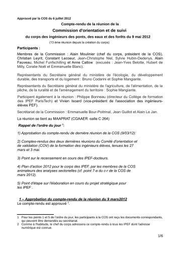 COS du 9 mai 2012 - SUP-Equip