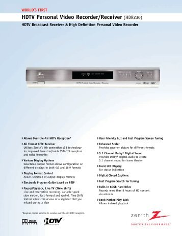 HDTV Personal Video Recorder/Receiver (HDR230)
