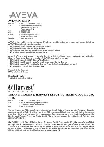 aveva pte ltd beijing leader & harvest electric technologies co., ltd.