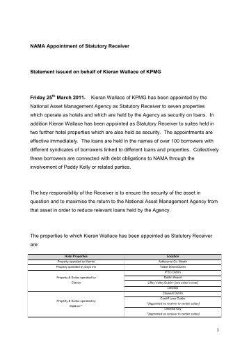 NAMA Appointment of Statutory Receiver ... - NAMA Wine Lake