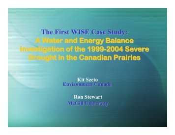 The First WISE Case Study - Drought Research Initiative