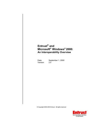 Entrust and Microsoft Windows 2000: An Interoperability Overview