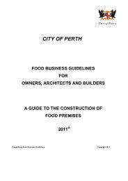 Food Business Construction Guidelines - City of Perth