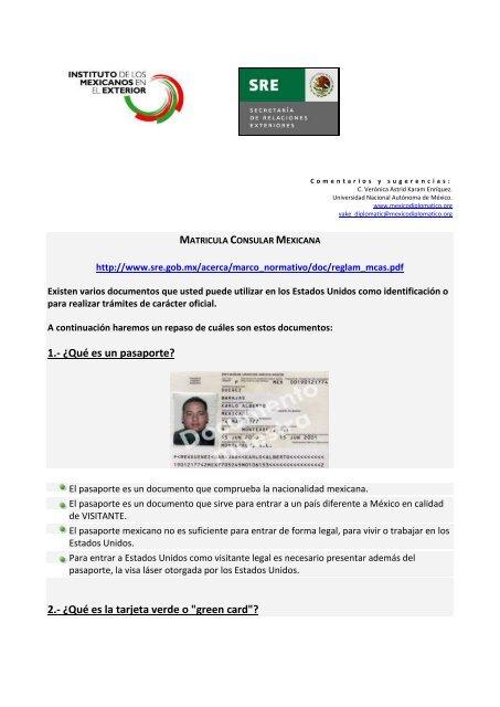 MATRICULA CONSULAR MEXICANA