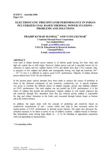 Electrostatic precipitator performance in indian pulverized coal - isesp