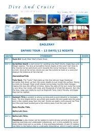 EAGLERAY SAFARI TOUR – 13 DAYS/12 NIGHTS - Dive and Cruise