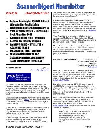 Scanner Digest Newsletter - Issue 59